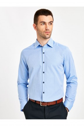 قميص رجالي بنقشة مزخرفة - ازرق