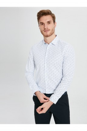 قميص رجالي مزين بنقشة مزخرفة