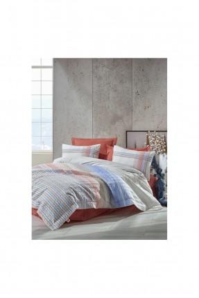 طقم غطاء سرير فردي مبطن مخطط