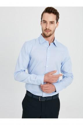 قميص رجالي بقصة ضيقة - ازرق