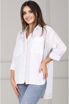 قميص نسائي طويل من الخلف - ابيض