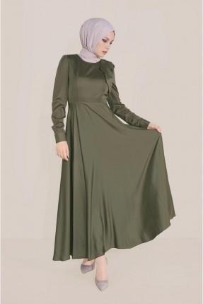 فستان سادة اللون مزين بتفاصيل - زيتي