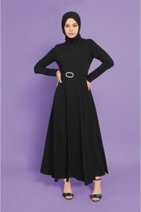 فستان رسمي بتفاصيل على الاكمام - اسود