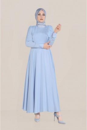 فستان  سادة اللون - ازرق