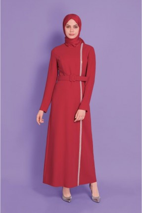 فستان رسمي مزين بخط ستراس - احمر