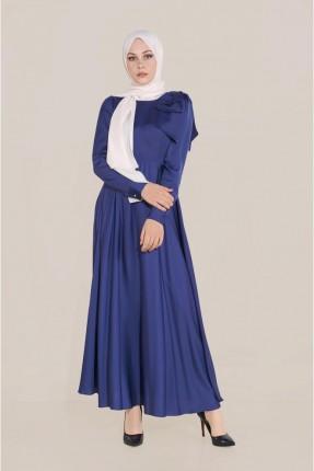 فستان مزين بتفاصيل على الاكمام - ازرق