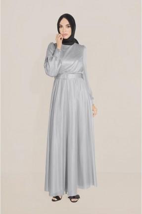 فستان رسمي ذو لمعة - رمادي