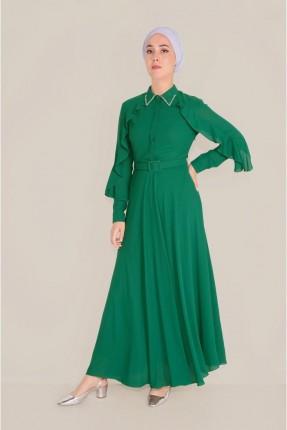 فستان رسمي مزين بستراس على الياقة - اخضر
