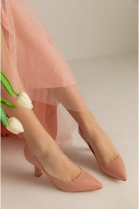 حذاء نسائي بكعب قصير - زهري