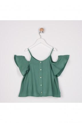 قميص اطفال بناتي باكتاف منخفضة - اخضر