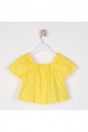 بلوز اطفال بناتي بياقة مربعة - اصفر