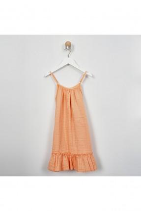 فستان اطفال بناتي مكشكش بحمالات