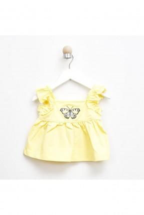 بلوز بيبي بناتي بنقشة فراشة - اصفر