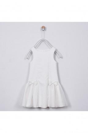 فستان اطفال بناتي مكشكش - ابيض