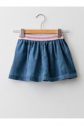 تنورة بيبي بناتي جينز مزين بخصر مطاط