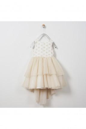 فستان اطفال بناتي مكشكش مزين بالتول