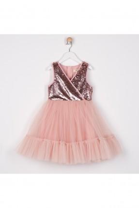 فستان اطفال بناتي بالتول مزين بالترتر