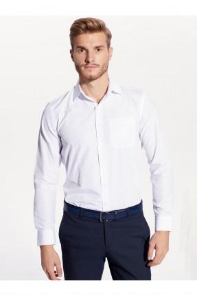 قميص رجالي مزين بنقشة - ابيض