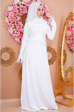 فستان رسمي مزين بريش - ابيض