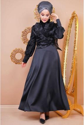 فستان رسمي بياقة V - اسود