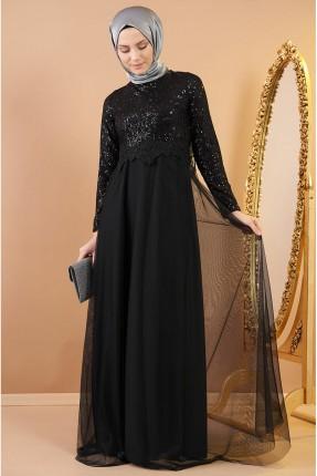 فستان رسمي مزين بترتر لامع - اسود