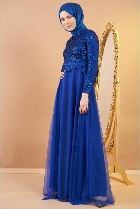 فستان رسمي بترتر - ازرق
