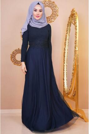 فستان رسمي بتفاصيل دانتيل - كحلي