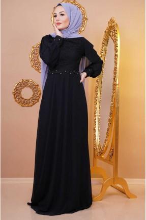 فستان رسمي مزين بستراس وخرز - اسود