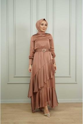 فستان نسائي رسمي مزين بكشكش