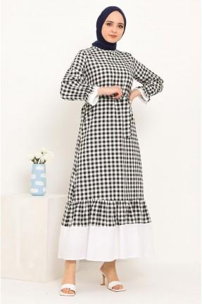 فستان بنقشة كارو مزين بحزام ربط على الخصر