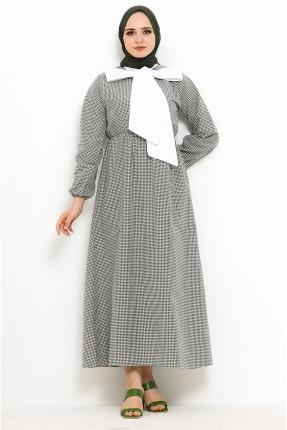 فستان باكمام طويلة مزين بربطة على الياقة