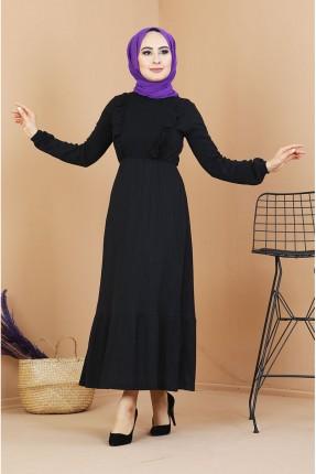 فستان مزين بكشكشة على الصدر - اسود