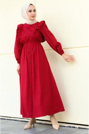 فستان مزين بكشكشة على الصدر - احمر