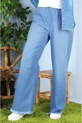 بنطال نسائي جينز مزين بشراشيب