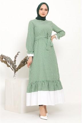 فستان بنقشة كارو - اخضر
