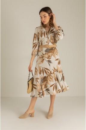 فستان مزين باوراق شجر