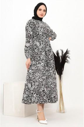 فستان مزين بنقشة زهور - اسود