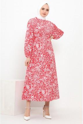 فستان مزين بنقشة زهور - احمر