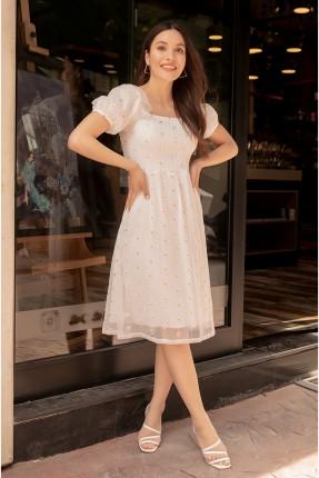 فستان تول مزين بنقشة ازهار