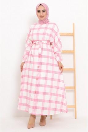 فستان بنقشة كارو - زهري