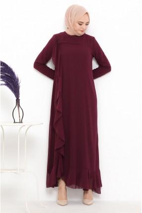 فستان رسمي مزين بكشكشة على الجانب