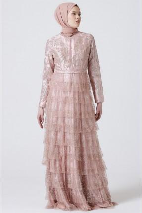 فستان رسمي مزين بطبقات مكشكشة
