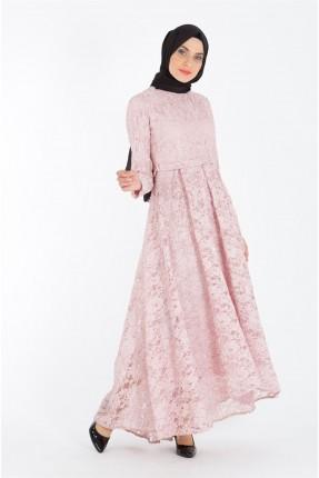 فستان رسمي دانتيل مزين بكسرات