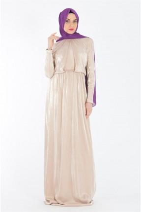 فستان رسمي بنمط لامع - ذهبي
