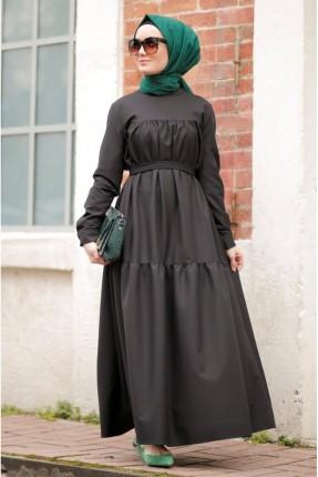 فستان مزين بحزام على الخصر - اسود