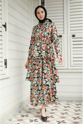 فستان موديل طبقات بنقشة