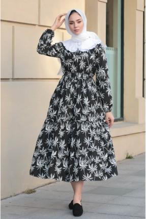 فستان باكمام طويلة - اسود