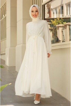 فستان باكمام طويلة كلوش - ابيض