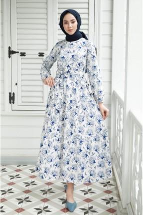 فستان باكمام طويلة منقش