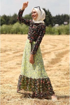 فستان بلونين منقش